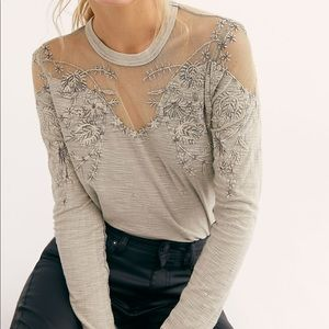 NWT Free People Micha Tee Gray